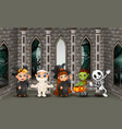 cartoon happy kids with halloween day vector image vector image