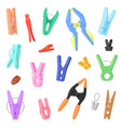 clothespin clothespeg and office clamp clip vector image
