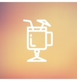 Cold ice tea with straw thin line icon vector image vector image