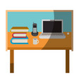 colorful graphic of desk home office basic without vector image vector image