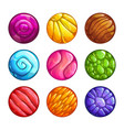 colorful round jelly icons slimy assets for game vector image