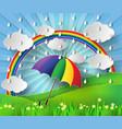 colurful umbrela with rain vector image vector image