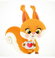 cute little red squirrel with a cup tea vector image vector image