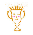 cute trophy character in cartoon style smiley vector image
