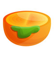 cutted half of persimmon icon cartoon style vector image vector image