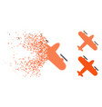 dissolving pixelated halftone screw aeroplane icon vector image