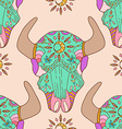 Doodle bull skull seamless pattern vector image