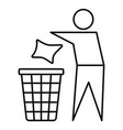 drop garbage icon outline style vector image