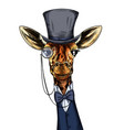 elegant giraffe dressed in suit monocle and hat vector image