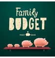 family budget piggy money-boxes on shelf vector image vector image