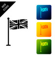 flag great britain on flagpole icon isolated vector image vector image
