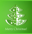 Green paper cut-out christmas tree vector image vector image