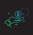 hand dollar coin icon design vector image vector image