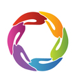 hands teamwork around logo vector image vector image