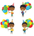 happy african-american boys carrying colorful vector image vector image