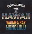 hawaii beach with palm tree t-shirt design vector image vector image