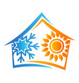house sun and snowflake symbol vector image vector image