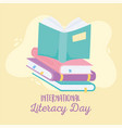 international literacy day open book on stack vector image vector image