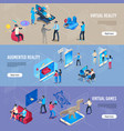isometric people in vr portable virtual reality vector image vector image