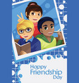 kids celebrating friendship day vector image