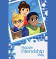 kids celebrating friendship day vector image