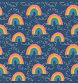 kids pattern rainbows and clouds seamless vector image vector image