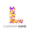 letter l logo with purple yellow red particles vector image