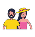 man and woman character cartoon vector image vector image