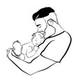 man with a child logo young father with vector image vector image