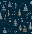 marry christmas and christmas tree pattern vector image vector image