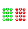 number set circle shiny glossy button vector image