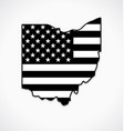 ohio oh state shape with usa flag black and white vector image vector image