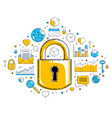 padlock lock surrounded by different icons set vector image vector image
