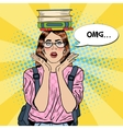 Pop Art Woman Student with Books on her Head vector image