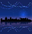 rome silhouete and chritsmas lights vector image vector image