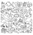 Sea doodle set vector image vector image