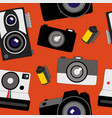 seamless pattern of various cameras from old to vector image vector image