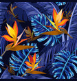 seamless pattern with blue tropical flowers vector image vector image