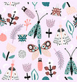 seamless pattern with flowers moth butterfly vector image
