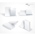 Set blank white boxes isolated on white vector image