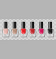set nail polish bottles with colorful varnish vector image