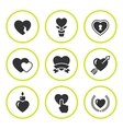 Set round icons of heart vector image