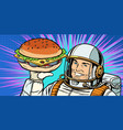 smiling male astronaut presents burger vector image