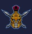 spartan skull head mascot logo vector image