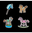 stickers with horses vector image vector image