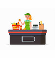 supermarket cashier flat vector image