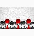 Team app development concept with business doodle vector image