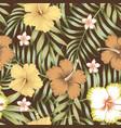 tropical leaves hibiscus frangipani seamless vector image vector image