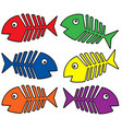 various colors fishbones vector image