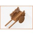 wooden wheelbarrow isometric 3d vector image vector image